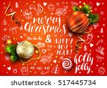 christmas vector red card with...   Shutterstock .eps vector #517445734
