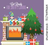 christmas fireplace with gifts... | Shutterstock .eps vector #517449664