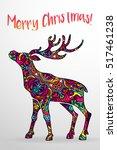 psychedelic deer stag body... | Shutterstock .eps vector #517461238