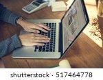 business startup laptop growth... | Shutterstock . vector #517464778