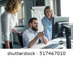 team of colleagues working on... | Shutterstock . vector #517467010