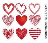 set of different hearts. set of ... | Shutterstock . vector #517470124