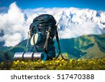 tourist backpack and sleeping... | Shutterstock . vector #517470388