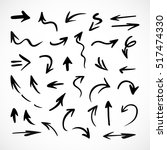 hand drawn arrows  vector set | Shutterstock .eps vector #517474330