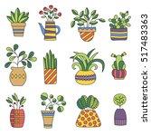 home plants in different pots... | Shutterstock .eps vector #517483363