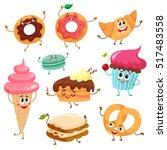 Set Of Funny Dessert Character...