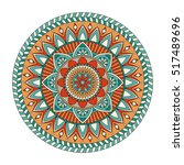 color floral mandala  vector... | Shutterstock .eps vector #517489696