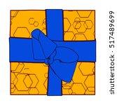 orange gift box present with... | Shutterstock .eps vector #517489699