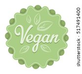 vegan icon in cartoon style... | Shutterstock . vector #517491400