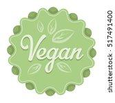 vegan icon in cartoon style... | Shutterstock . vector #517491400