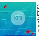 ocean with crabs. vector... | Shutterstock .eps vector #517491526