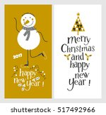 holiday cards   marry christmas ... | Shutterstock .eps vector #517492966