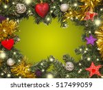 christmas frame  decorations | Shutterstock . vector #517499059