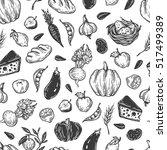 kitchen seamless pattern.... | Shutterstock .eps vector #517499389