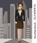 resolute business woman on... | Shutterstock .eps vector #517499974