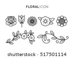 set of floral icon in flat... | Shutterstock .eps vector #517501114