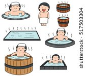 vector set of people bathing in ... | Shutterstock .eps vector #517503304