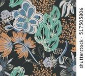 floral seamless pattern. hand... | Shutterstock .eps vector #517505806