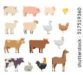 Farm Animals Flat Icons. Set O...