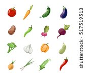 cartoon vegetables . set of... | Shutterstock . vector #517519513