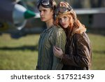 the guy and the girl  pilots... | Shutterstock . vector #517521439