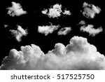 set of isolated clouds on black ... | Shutterstock . vector #517525750