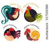four stylized roosters in... | Shutterstock .eps vector #517533580