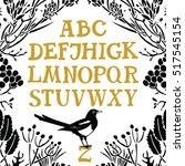 Alphabet Serif Font Floral...