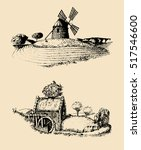 hand drawn old rustic mills... | Shutterstock .eps vector #517546600