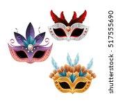 set beautiful masks carnival...   Shutterstock .eps vector #517555690