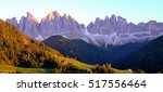 colors of dolomites. funes view ... | Shutterstock . vector #517556464