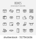set of box icons in modern thin ... | Shutterstock .eps vector #517561636