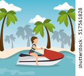 jet ski girl riding beach | Shutterstock .eps vector #517561828