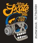 vector skateboard skull design   Shutterstock .eps vector #517563484