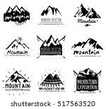 mountain retro logo and... | Shutterstock . vector #517563520
