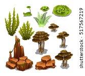 the set of algae and underwater ... | Shutterstock .eps vector #517567219