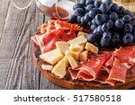 prosciutto  wine  grape ... | Shutterstock . vector #517580518