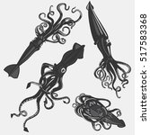 set of squid tattoo or calamary ... | Shutterstock .eps vector #517583368
