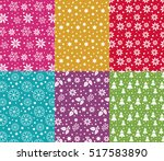set of 6 seamless christmas... | Shutterstock .eps vector #517583890
