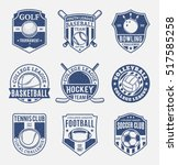 set of retro styled sport team... | Shutterstock .eps vector #517585258