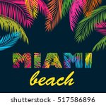 background with colorful palm... | Shutterstock . vector #517586896