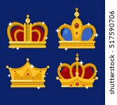 set of gold king crown or pope... | Shutterstock .eps vector #517590706