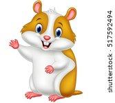 cute hamster waving hand | Shutterstock .eps vector #517592494