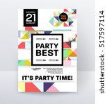 invitation disco party poster... | Shutterstock .eps vector #517597114