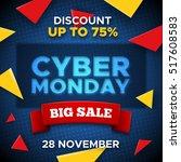cyber monday sale promo... | Shutterstock . vector #517608583