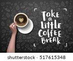 vector hand holding cup .... | Shutterstock .eps vector #517615348