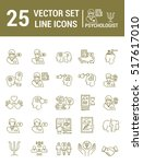 set vector line icons in flat... | Shutterstock .eps vector #517617010