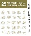 set vector line icons in flat... | Shutterstock .eps vector #517617010