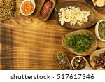 various kinds of spices on the... | Shutterstock . vector #517617346