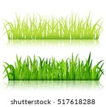 green grass borders vector | Shutterstock .eps vector #517618288
